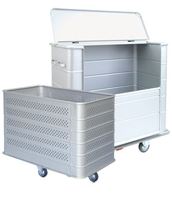 Steel containers and laundry trolleys