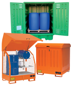 Drum cabinets for outdoor storage