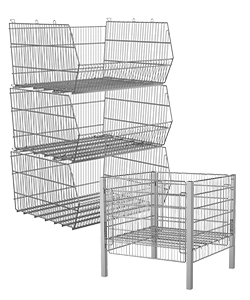 Display stands and wire storage baskets