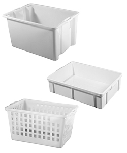 Dough proofing boxes and bakery baskets