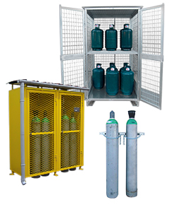 Gas bottle storage depots and cabinets