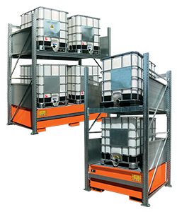 IBC storage racking with spill pallet
