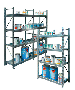 Industrial shelving for small containers with spill pallet