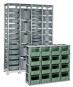 Metal boxes shelving