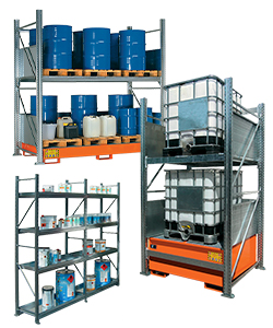 Metal shelving for the storage of drums, IBC and containers