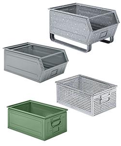 Metal storage boxes and bins