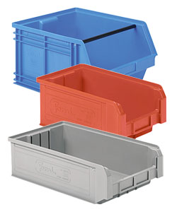 Open fronted storage bins and semi open storage boxes