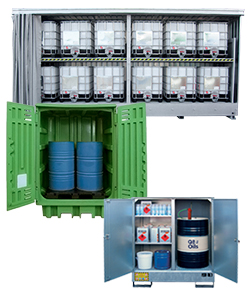 Outside storage containers and cabients in steel and polyethylene