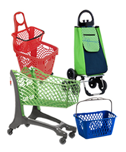 Retail shopping carts, baskets and trolleys