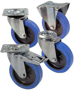 Elastic rubber castors
