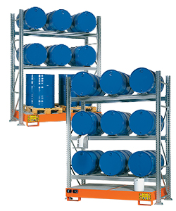 Drum storage racking with spill pallet