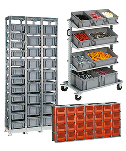 Shelving for plastic crates