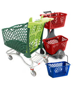 Retail shopping baskets and trolleys