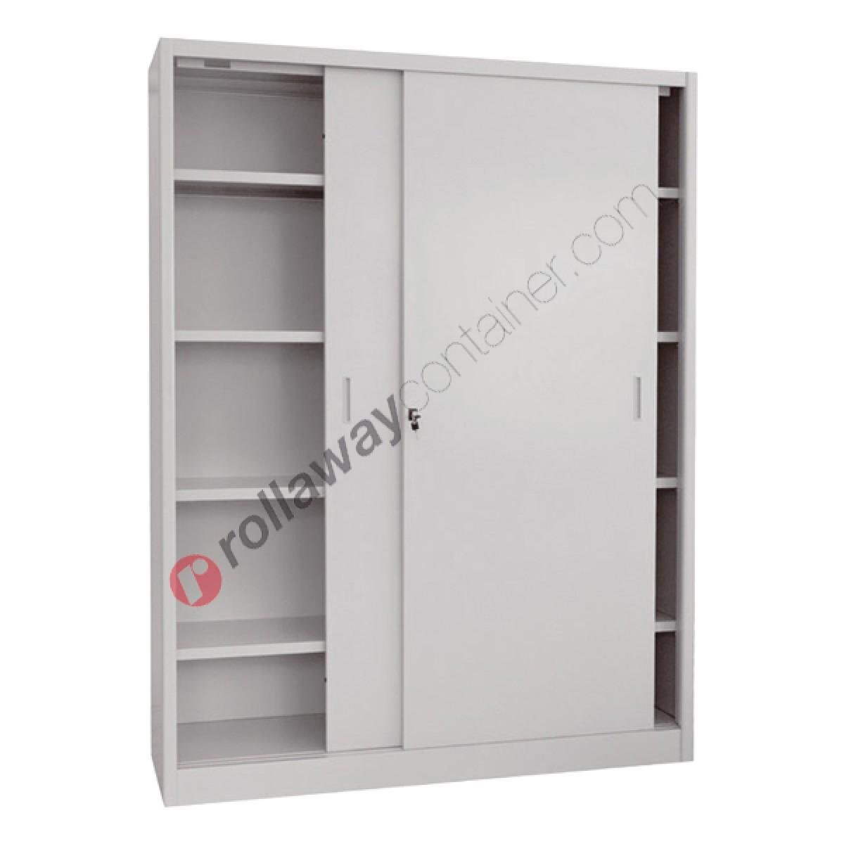 Metal Storage Cupboard 2 Sliding Doors H 90
