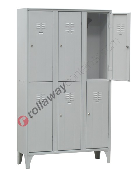 Locker wardrobe metal 2 tier nest of 3 with lock