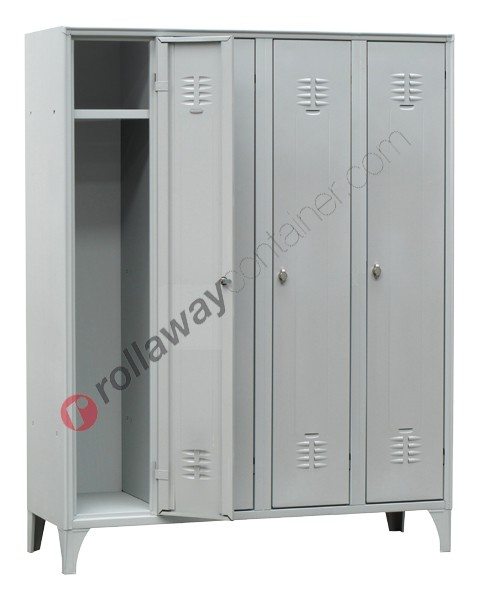 Clothes locker space saver metal 4 doors with lock 4 places
