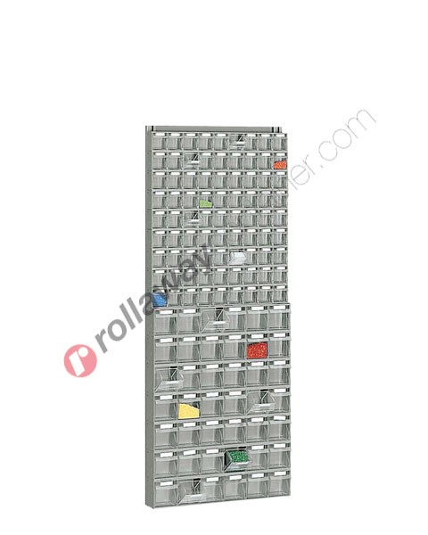 Tilt bin storage 600 x 113 H 1500 mm complete 123 drawers