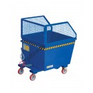 Forklift tipping skip with 4 wheels Gran Volume capacity 500-600 kg