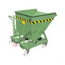 Manual and forklift tipping skip with 4 wheels and capacity 1000 kg