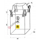 Big bag for dangerous goods (UN) with skirt and flat bottom