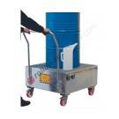 Mobile drum sump pallet in galvanized steel 860 x 860 x 1170 mm