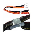 Ratchet textile strap with tensioner for roll container