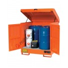Drum storage cabinet in painted steel 1350 x 1260 x 1540 mm with spill pallet for flammable substances