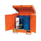 Drum storage cabinet in painted steel 1350 x 860 x 1570 mm with spill pallet for flammable substances