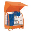 Drum storage cabinet in painted steel 1380 x 910 x 1520 mm with spill pallet and mesh walls