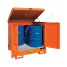 Drum storage cabinet in painted steel 1350 x 1260 x 1540 mm with spill pallet for 4 x 200 lt drums