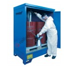 Drum storage cabinet in galvanized painted steel 1360 x 920 x 1845 mm with spill pallet for 2 x 200 lt drums