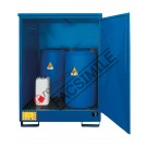 Drum storage cabinet in galvanized painted steel 1360 x 920 x 1845 mm with spill pallet in stainless steel