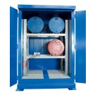 Drum storage cabinet in galvanized painted steel 2000 x 1550 x 2700 mm with spill pallet and thermal insulation