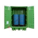 Drum storage cabinet in polyethylene 1540 x 1000 x 1940 mm with spill pallet for 2 drums