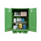 Drum storage cabinet in polyethylene 1540 x 1000 x 1940 mm with spill pallet and shelving