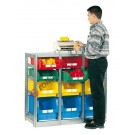 Shelving 1129 x 500 H 1010 mm complete 12 open fronted storage bin 500/450 x 300 mm