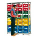 Shelving 1429 x 500 H 2010 mm complete 32 open fronted storage bin 500/450 x 300 mm