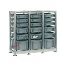 Shelving euro container 1090 x 400 H 1010 mm with 18 euroboxes 400 x 300 mm