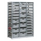 Shelving euro container 1390 x 600 H 2010 mm with 29 euroboxes 600 x 400 mm