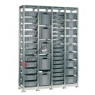 Shelving euro container 1440 x 400 H 2010 mm with 44 euroboxes 400 x 300 mm