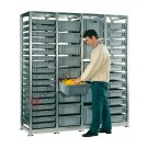 Shelving euro container 1840 x 600 H 2010 mm with 44 euroboxes 600 x 400 mm