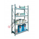 Metal storage shelves 1305 x 400 x 2200 mm with 1 spill pallet shelf and 3 grilled shelves