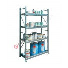 Metal storage shelves 1305 x 400 x 2200 mm with 4 spill pallet shelves