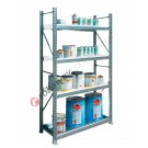 Metal storage shelves 1305 x 600 x 2200 mm with 1 spill pallet shelf and 3 grilled shelves