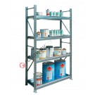 Metal storage shelves 1305 x 600 x 2200 mm with 4 spill pallet shelves