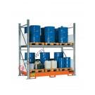 Metal storage shelves with spill pallet for 16 drums 200 lt vertical 2 floors