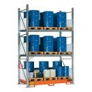 Metal storage shelves with spill pallet for 24 drums 200 lt vertical 3 floors