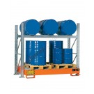 Metal storage shelves with spill pallet for 3 drums 200 lt horizontal and 3 drums 200 lt vertical