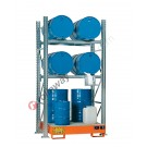 Metal storage shelves with spill pallet for 4 drums 200 lt horizontal and 2 drums 200 lt vertical