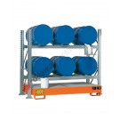 Metal storage shelves with spill pallet for 6 drums 200 lt horizontal 2 floors